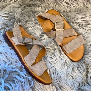 Anthro Kork ease suede strappy sandals 8
